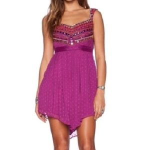 FREE PEOPLE embroidered fuschia dress